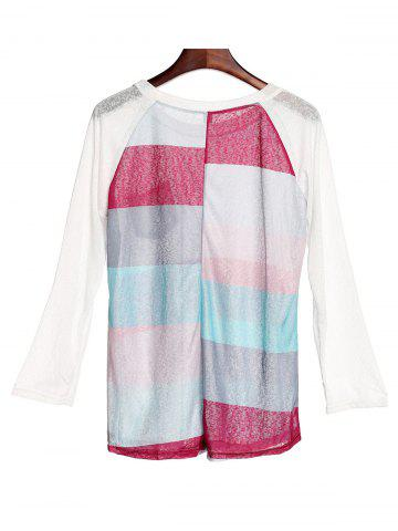 Hot Stylish Scoop Neck 3/4 Sleeve Striped Pocket Spliced Women's T-Shirt - M COLORMIX Mobile