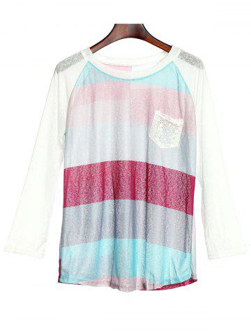 Fashion Stylish Scoop Neck 3/4 Sleeve Striped Pocket Spliced Women's T-Shirt - XL COLORMIX Mobile