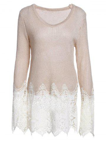 Sale Chic Solid Color Lace Splicing Long Sleeve Scoop Neck Pullover Sweater For Women APRICOT M