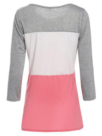Hot Stylish Scoop Neck 3/4 Sleeve Lace Splicing Color Block T-Shirt For Women - XL GRAY Mobile