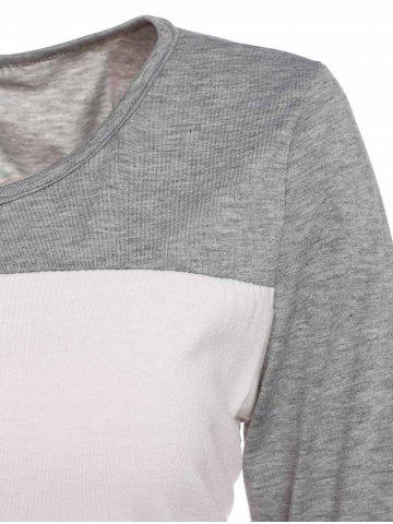 Fashion Stylish Scoop Neck 3/4 Sleeve Lace Splicing Color Block T-Shirt For Women - XL GRAY Mobile