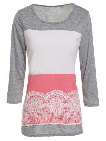Buy Stylish Scoop Neck 3/4 Sleeve Lace Splicing Color Block T-Shirt For Women - XL GRAY Mobile
