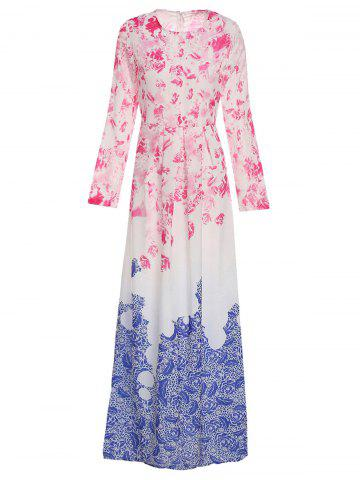 Sale Stylish Round Collar Ombre Flower Long Sleeve Dress For Women BLUE AND PINK XL