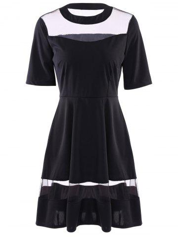 Fashion Round Neck Half Sleeve See-Through Spliced Dress For Women