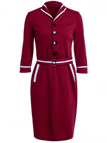 Buy Turn-Down Collar Buttoned Work Midi Pencil Dress WINE RED L