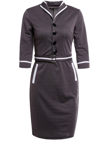 s 'Robe crayon Vintage Button Sleeve Turn-Down Collar 3/4 Conception Femmes Gris Foncé M