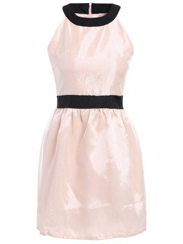 Stunning Scoop Neck Sleeveless Color Block Polyester Women's Dress - WHITE ONE SIZE
