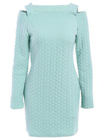 Medium LIGHT GREEN Round Neck Long Sleeve Cut Out Solid Color Sweater Dress