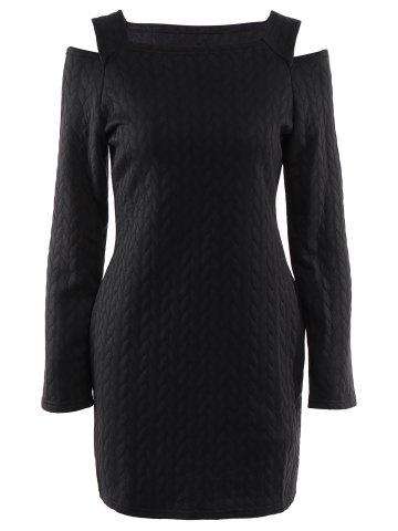Medium BLACK Round Neck Long Sleeve Cut Out Solid Color Sweater Dress