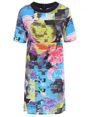 Stylish Round Neck Short Sleeve Floral Print Colored Dress For Women - Colormix - M
