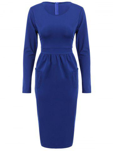 Affordable OL Style Solid Color Round Collar Long Sleeve Bodycon Midi Dress For Women