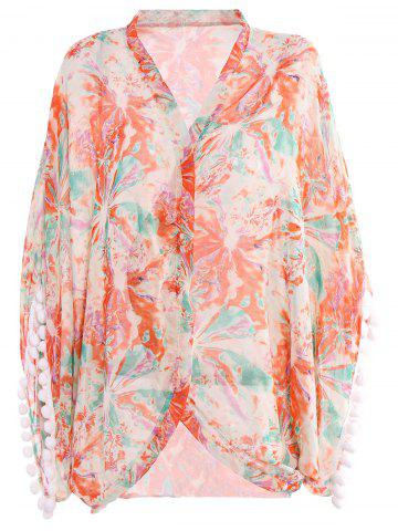 Stylish Collarless Floral Print Fringe Splicing 3/4 Sleeve Cover-Up For Women - COLORMIX M