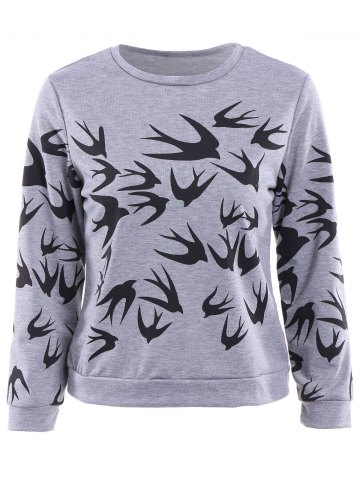 Stylish Round Collar Long Sleeve Swallow Print Women's Sweatshirt - GRAY M