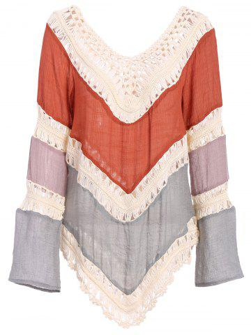 Chic Trendy V-Neck Long Sleeve Color Block Hollow Out Women's Knitwear JACINTH M