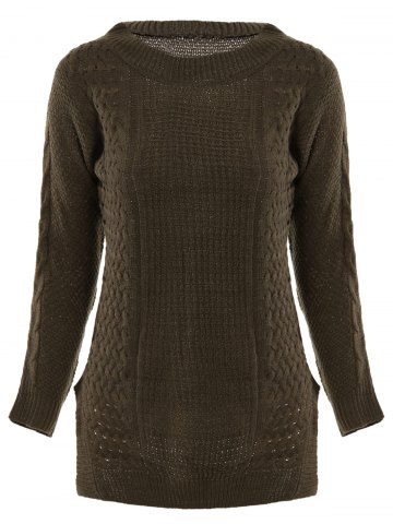 New Stylish Round Neck Long Sleeve Solid Color Furcal Women's Sweater DEEP BROWN ONE SIZE(FIT OUR SIZE)