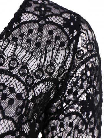 Store Fashionable Plunging Neckline 3/4 Sleeve Lace Dress For Women - S BLACK Mobile