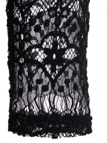Chic Fashionable Plunging Neckline 3/4 Sleeve Lace Dress For Women - L BLACK Mobile