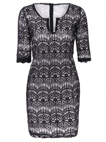 Store Fashionable Plunging Neckline 3/4 Sleeve Lace Dress For Women - L BLACK Mobile