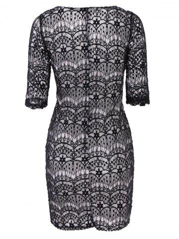 Buy Fashionable Plunging Neckline 3/4 Sleeve Lace Dress For Women - L BLACK Mobile