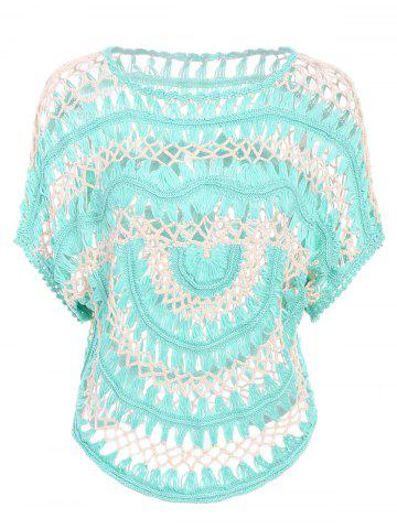 Cheap Sexy Jewel Neck Openwork Dolman Sleeve Bikini Cover-Up For Women - ONE SIZE(FIT SIZE XS TO M) GREEN Mobile