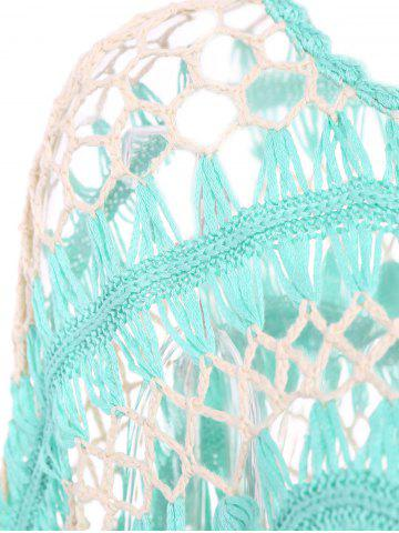 Online Sexy Jewel Neck Openwork Dolman Sleeve Bikini Cover-Up For Women - ONE SIZE(FIT SIZE XS TO M) GREEN Mobile