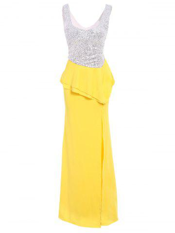 Shops Peplum Sequin Long Bodycon Evening Prom Dress YELLOW L