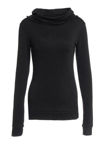 Shop Stylish Black Lace-Up Back Long Sleeves Hoodie For Women BLACK L
