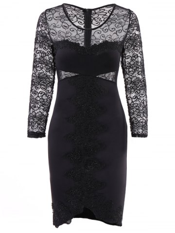 Black M See Through Lace Panel Bodycon Club Dress Rosegal