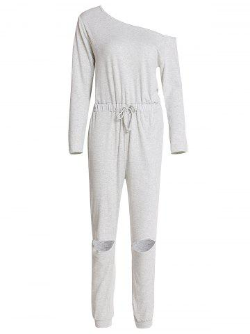 Shops Concise Gray Long Sleeve Waist Tied Cut Out Jumpsuit For Women
