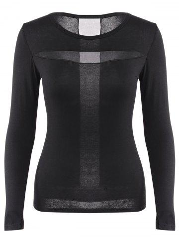 Outfits Simple Round Neck Solid Color Splicing Slimming Long Sleeve T-Shirt For Women