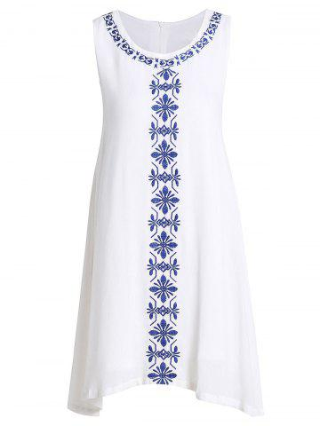 Affordable Ethnic Style Jewel Neck Sleeveless Embroidered Dress For Women