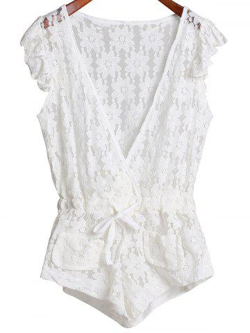 Online Plunging Neck Sleeveless Cut Out Women's Lace Romper WHITE L
