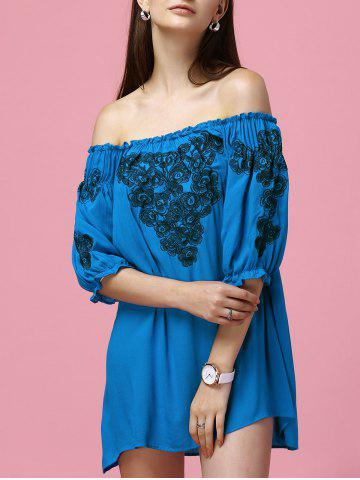 Embroidery Bardot Off The Shoulder Dress - Sapphire Blue - L