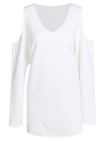Sweet V-Neck White Long Sleeve Sweatshirt For Women