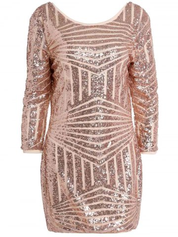 Affordable Backless Sequin Sparkly Short Bodycon Dress