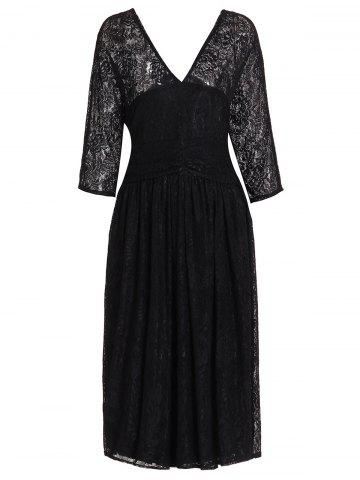 4XL BLACK V Neck 3 4 Sleeve Solid Color Plus Size Lace Dress