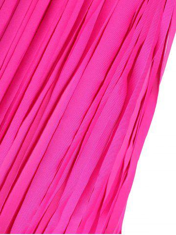 Discount Scoop Neck Sleeveless Fringed Solid Color Swimwear For Women - 5XL ROSE Mobile