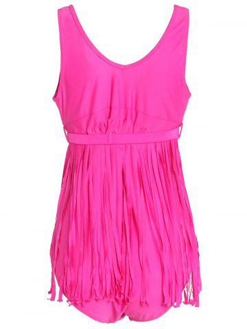 Sale Scoop Neck Sleeveless Fringed Solid Color Swimwear For Women - 5XL ROSE Mobile
