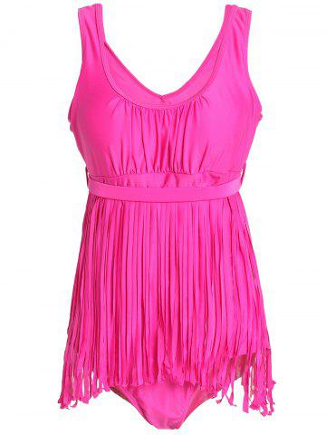 Store Scoop Neck Sleeveless Fringed Solid Color Swimwear For Women ROSE 4XL