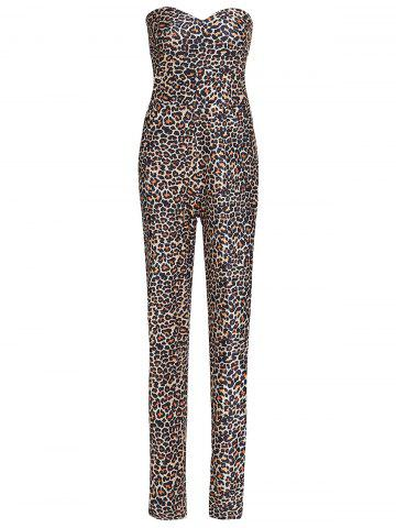 Sexy Strapless Leopard Printed Bodycon Jumpsuit For Women