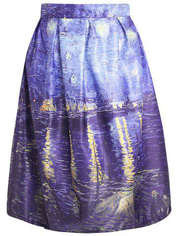 Trendy Oil Painting Print Box Pleated Skirt COLORMIX S