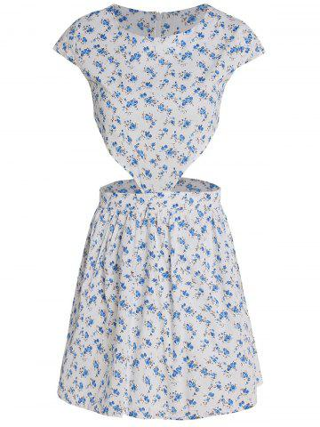 Fancy Cute Round Collar Tiny Floral Print Short Sleeve Dress For Women WHITE S