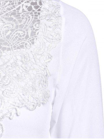Sale Simple Round Collar See-Through Solid Color Women's Long Sleeve Blouse - M WHITE Mobile