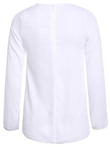 Cheap Simple Round Collar See-Through Solid Color Women's Long Sleeve Blouse - M WHITE Mobile