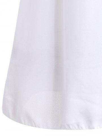 Chic Simple Round Collar See-Through Solid Color Women's Long Sleeve Blouse - M WHITE Mobile