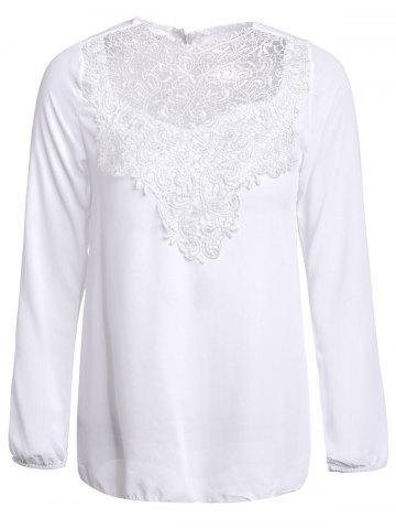 Cheap Simple Round Collar See-Through Solid Color Women's Long Sleeve Blouse WHITE L