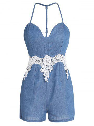 Discount Spaghetti Strap Lace Trim Short Denim Romper BLUE L