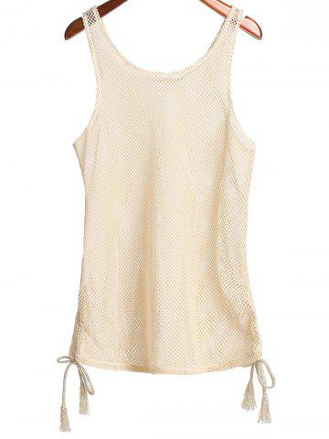 Discount Scoop Collar Cut Out Women's Cover Up - ONE SIZE(FIT SIZE XS TO M) APRICOT Mobile