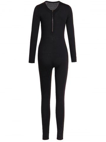Large BLACK Solid Color Zippered V Neck Long Sleeve Bodycon Jumpsuit