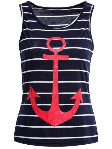 Shops Casual Scoop Neck Anchor Pattern Striped Tank Top For Women